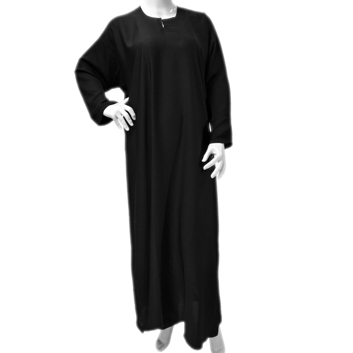 Black Non Stretch Straight Abaya